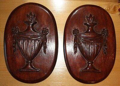Wooden plaques adam style classical greek urn design vintage antique wood treen