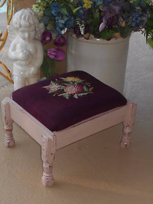 vintage floral NEEDLEPOINT FOOTSTOOL ottoman upcycled distressed cottage chic