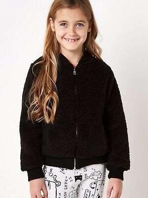 Brand New Girls Sager Squad Uk Fluffy Knit Zip Up Black Jacket Age 2-14 Years