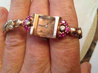 Antique 14 K solid rose gold ruby diamond ladies watch