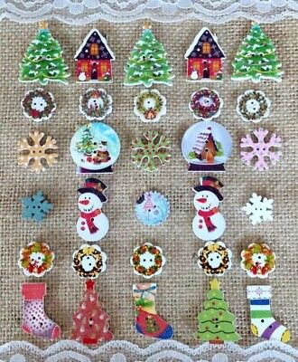 30 Lovely Large Mixed Christmas Buttons Trees Stockings Wreaths Snowmen etc