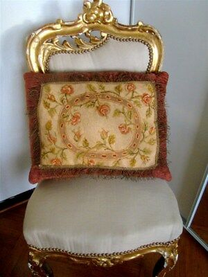 Pillows French antique Aubusson tapestry roses flowers metallic trim