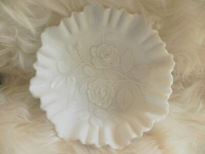 Beautiful Vintage White Milk Glass with Ruffled Edge Roses Dish/Bowl/Candy Dish