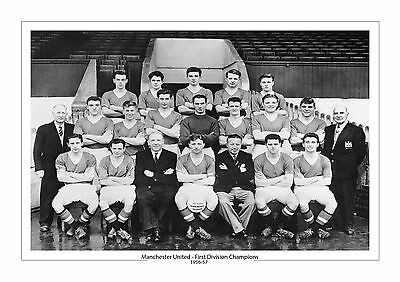 Manchester United 1957  First Division Champions A4 Print Photo Man Utd 1956-57