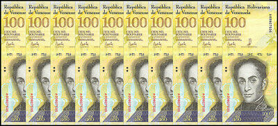 Venezuela 100,000 (100000) Bolivares X 10 Pieces (PCS), 2017, P-NEW, USED