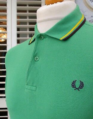 Fred Perry M1200 Green Twin Tipped Polo - S/M - Ska Mod Scooter Casuals Skins