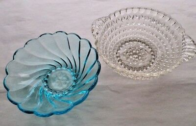 Two Candy Dish Set Bowl Collectible Decorative Clear Blue Iridescent Glass Gift
