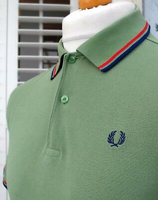 Fred Perry M1200 Green Twin Tipped Polo - M/L - Ska Mod Scooter Casuals Skins