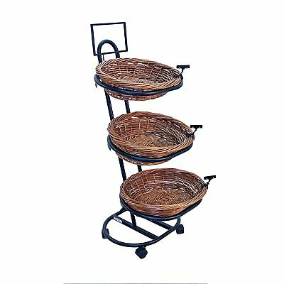3-Tier 3 Oval Willow Basket Display with Sign Frame and Sign Clips