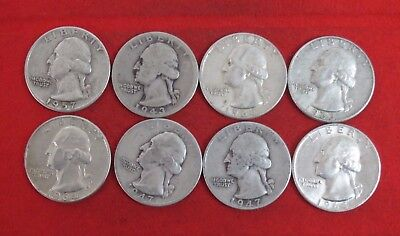1943 1947D 1947 1957 1963D 1964 Washington Quarter Silver Coin LOT OF 8