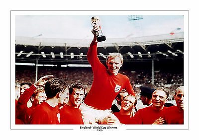 England Team Bobby Moore A4 Print Photo World Cup 1966 Trophy Wembley