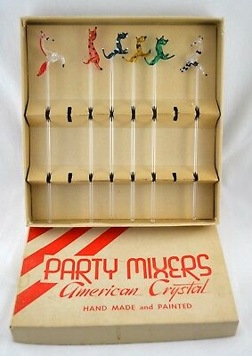 Vtg 1940s 50s Blown Glass Cocktail Stirrers American Crystal Animals 6 in Box