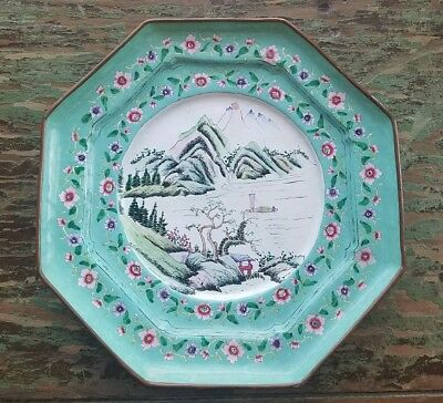 Antique Chinese Enamel Stepped Plate Mountain Motif Flowers Enamelware