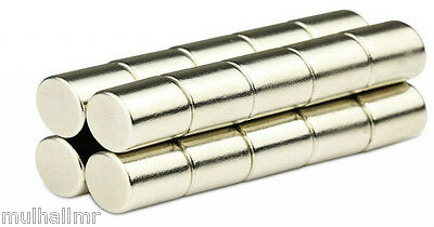 Ten Maximum Strength 10mm by 15mm Neodymium N50 Cylinder Magnets - Super Value!