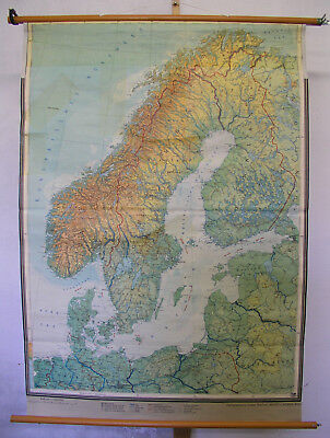 Schulwandkarte map card Nordeuropa Northern Europe 110x156 1960 vintage scandia