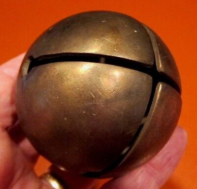 Antique Large Antique Brass Sleigh Bell Vintage 2 ¾ Inches - Vintage