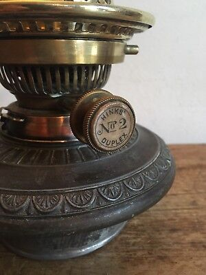 Vintage 'Hinks No2 Duplex' Oil Lamp & Hinks Pewter Font!