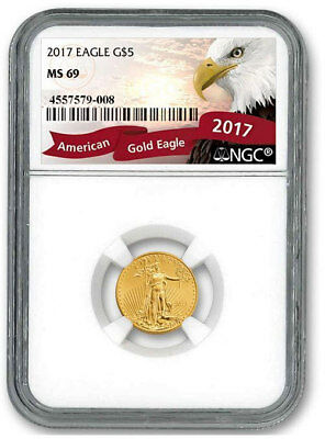 2017 $5 1/10 oz Gold American Eagle Coin NGC MS69 Gem BU UNC Uncirculated Nice!$