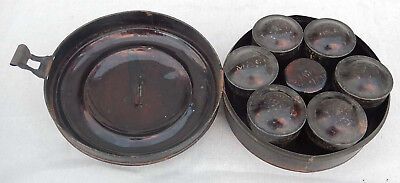 Antique Late 1800's Round Tin Spice Container w/ 7 Individual Canisters All Good