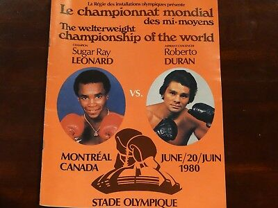 Duran vs Leonard Official Fight Program 1980 Montreal (French)