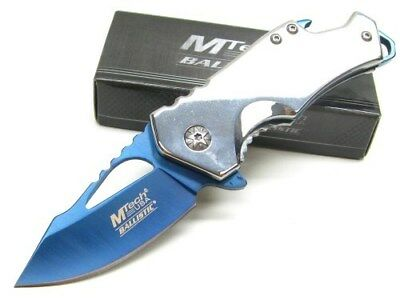 Mtech Stainless Steel Assisted Straight Blue Folding Pocket Knife  MTA882SBL