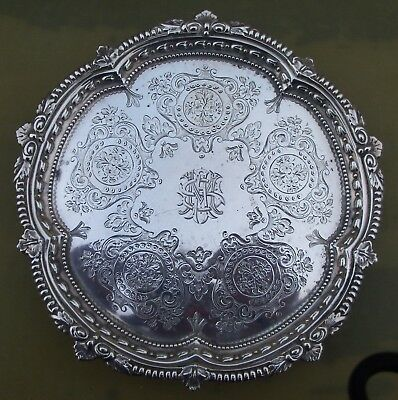 Good Antique Victorian sterling silver engraved salver, 1896, 206 grams