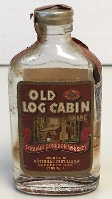 Old LOG CABIN Mini Straight BOURBON 86 Proof WHISKEY 1/10 Pint BOTTLE Peoria IL