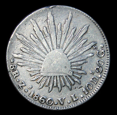 1860 Mexico Zs Silver 8 Reals Civil War Era Nice Original Coin (Very Affordable)