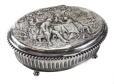 George Roth German 800 Silver Footed Oval Box, circa 1905