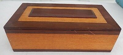 "Vintage Small Decorative Solid Oak Box Velvet Lined 13"" x 7"" x 4"""