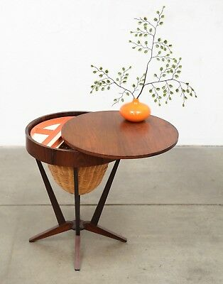 1950s Danish Modern Rosewood Storage Table Mid Century Vintage Eames Era