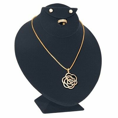 Black Velvet Earring, Necklace & Ring Bust Jewelry Display Stand - Set of 2