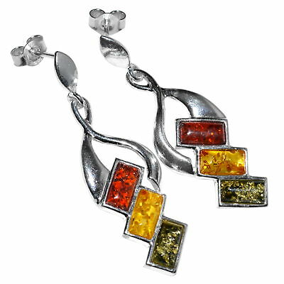 6.69g Authentic Baltic Amber 925 Sterling Silver Earrings Jewelry N-A8153