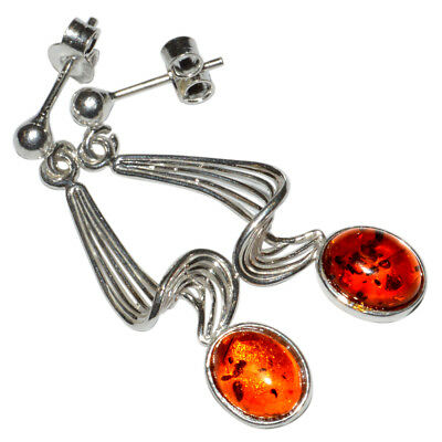 3.8g Authentic Baltic Amber 925 Sterling Silver Earrings Jewelry N-A8039