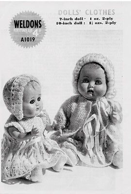 """VINTAGE KNITTING PATTERN COPY - DOLLS LATE 1940's - FOR 7""""&10"""" DOLLS"""