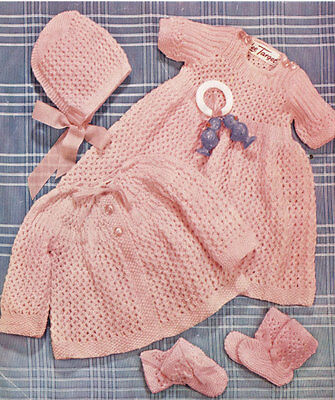 VINTAGE KNITTING PATTERN COPY - KNIT A  LACY SET  FOR BABY  IN 4 PLY -1950's