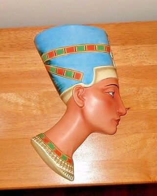 Vntg. Queen Nefertiti: Egyptian WALL HEAD Ceramic Goddess Of The People , Marked