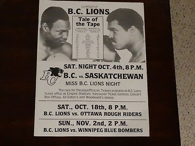 Ali vs Holmes Tale of The Tape Courtesy of B.C. Lions 1980