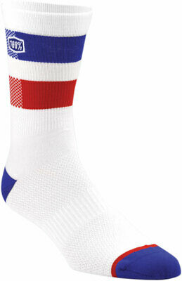 "100% MX Motocross FLOW 8"" Poly/Cotton Athletic Socks (White) LG-XL (US 10-13)"