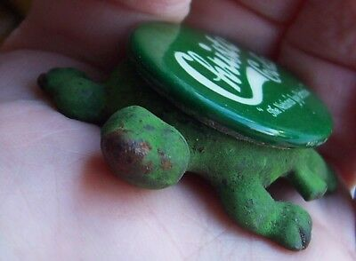 1920s Christo Cola turtle, green metal and celluloid, EX condition.
