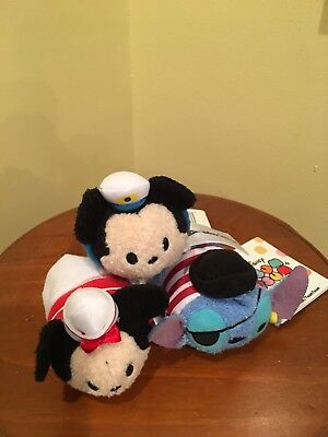 Disney Cruise Line Exclusive MICKEY, MINNIE & STITCH Tsum Tsum Set of 3 RARE!!!!