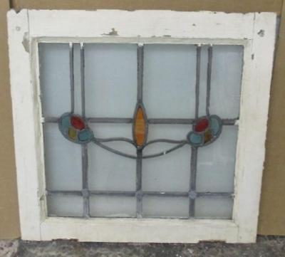 "MID SIZED OLD ENGLISH LEADED STAINED GLASS WINDOW Lovely Floral 23"" x 22"""