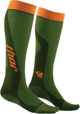 THOR MX Motocross 2016 Mens MX Cool Socks (Green/Orange) 10-13