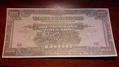 Unknown U.s. Army Wwii Stamped Malaya $1000 Dollar Uncirculated Oxen Reverse