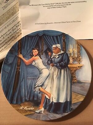 Knowles Collector's Plate Mammy Lacing Scarlett - Gone With The Wind COA