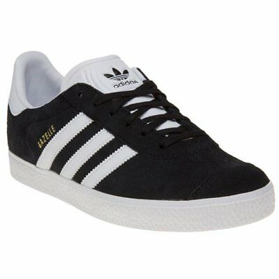 quality design 09b6d 83401 New Boys adidas Black Gazelle Suede Trainers Retro Lace Up