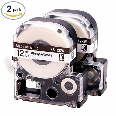 2PK Compatible for Epson K-Sun LC-4WBN9 SS12KW Black on White 12mm Label Tape