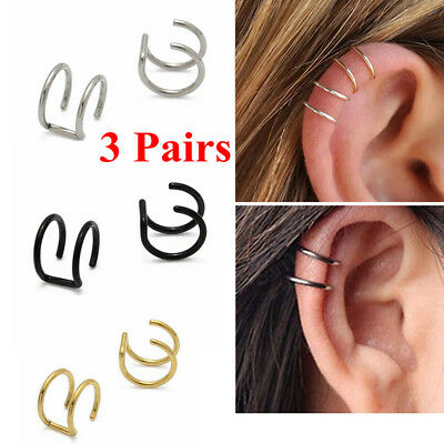 3 Pairs Steel Non-piercing Fake Lip Nose Ring Clip-on Cartilage Cuff Earrings