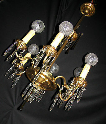 Vintage Art Deco Victorian Brass Crystals Chandelier Ceiling Light Fixture 20's