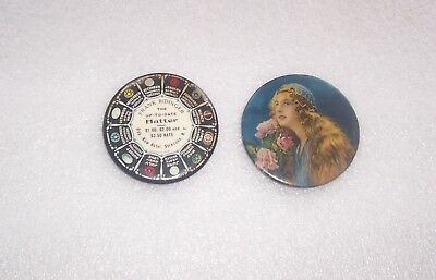 2 Vintage Round Celluloid Pocket Mirrors Frank Bidinger The Up-To-Date Hatter